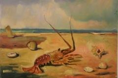 Aragosta natura morta marina - 1974 - Olio su tela - 50 x 70