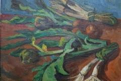 Natura morta con Carciofi e cipollotti - Olio su tela - 1954 - 50 x 60