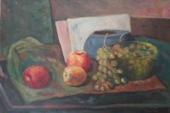 Natura morta con uva e mele - 1961- Olio su tela -50 x 70