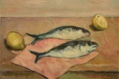 Pesci - 1974 - Olio su tela - 35 x 40