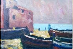 Barche in secca  - 1965  - Olio su tela - 21 x 24